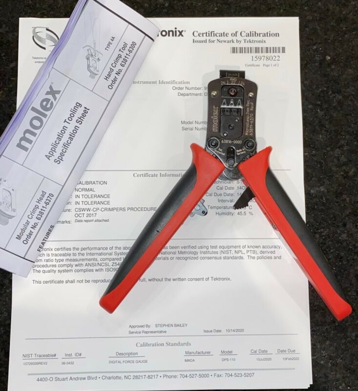 NEW MOLEX Crimp Tool 63811-6300 with Calibration Cert. - FREE SHIPPING