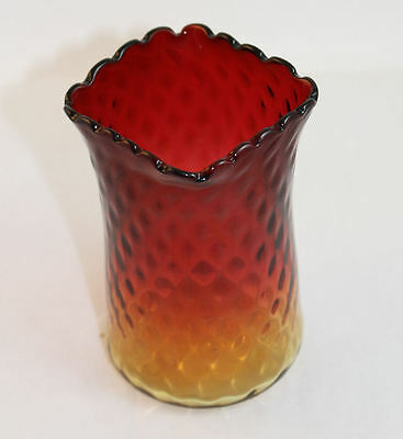 Antique Amberina Art Glass Spooner or Vase