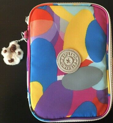 KIPLING 100 PEN CASE WITH MONKEY KEY CHAIN - MULTI COLORED