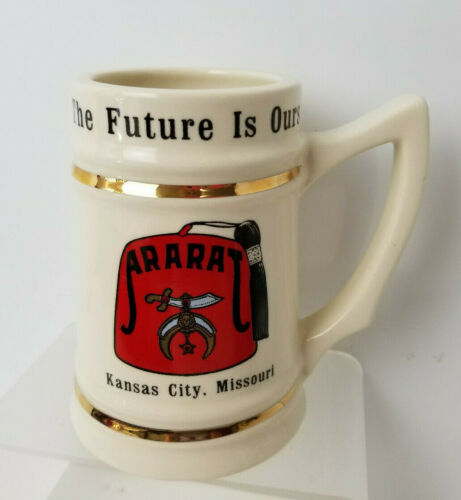 ARARAT Shrine Masonic Tankard Stein The Future is Ours   Kansas City MO Vintage