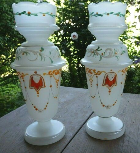 Pair Of Antique Victorian 19th C Enameled Bristol Glass Vases