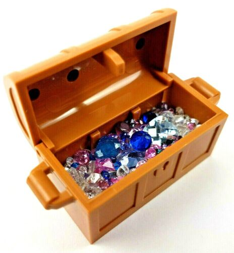 Lego Treasure Chest with GEMSTONES - UNIQUE FINDS - Amethyst Sapphire Topaz G&LC