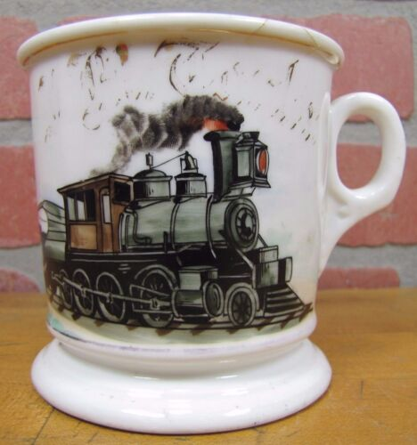 19c TRAIN CONDUCTOR RR Occupational Shaving Mug SMITH BARBER SUPPLIES PHILA