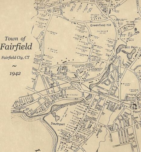 Fairfield Southport Greenfield Hills CT 1942 Maps with Homeowners Names Shown