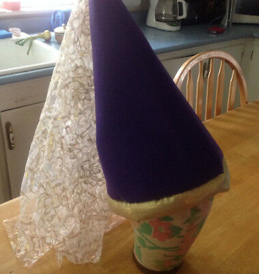 deluxe princess cone hat with veil  purple](Princess Cone Hat)