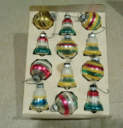 Set of 12 Vintage SHINY BRITE Glass Christmas Ornaments - Bells and Round