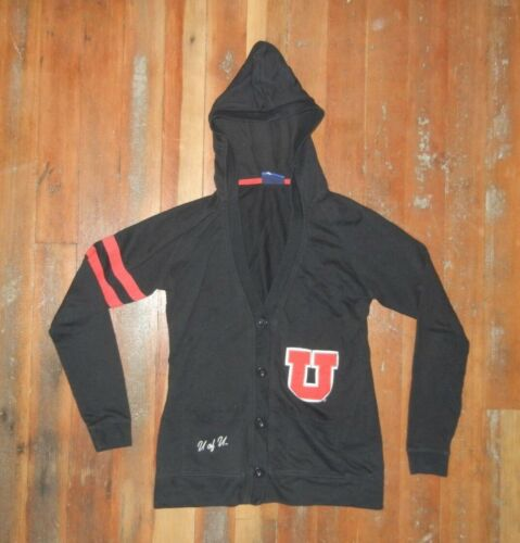 Champion UTAH UTES Black Warm COLLEGE CARDIGAN Hoodie Sweatshirt Sz Women MEDIUM