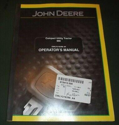 John Deere 990 Compact Tractor Operation Maintenance Manual Book Omlvu16396