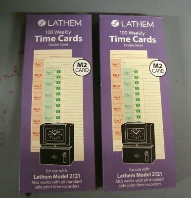 2 Packs Lathem M2-100 Time Cards Weekly 2-sided 3 38 X 9 Box Of 100 Each