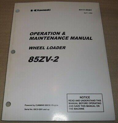 Kawasaki 85zv-2 Wheel Loader Operator Operation Maintenance Manual Book