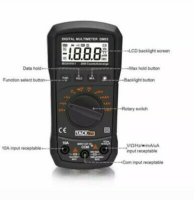 Digital Multimeter Auto Ranging Multi Tester Measures Ac Dc Voltage Tester Only