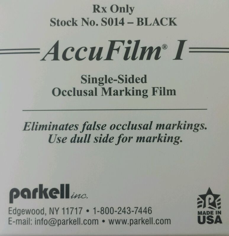 AccuFilm I Parkell Articulating Paper Single Sided Black 280 Pre-cut strips