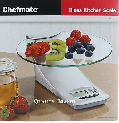 Chefmate Glass Kitchen Food Digital Scale 9lb4kg Precise Converts Grams To Oz
