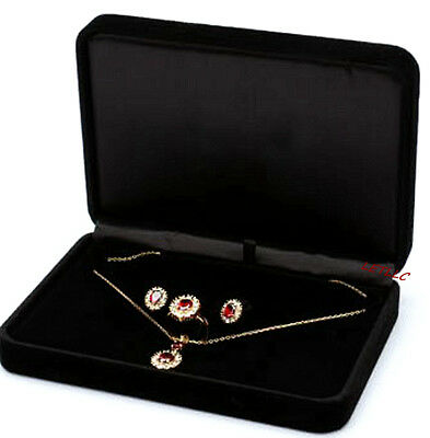 Deluxe Large Jewelry Pearl Set Gift box Black White/Beige Velvet for Jewelry set