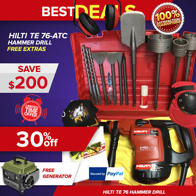 Hilti Te 76 Hammer Drill Preowned Free Generator Chisels Bits Extras