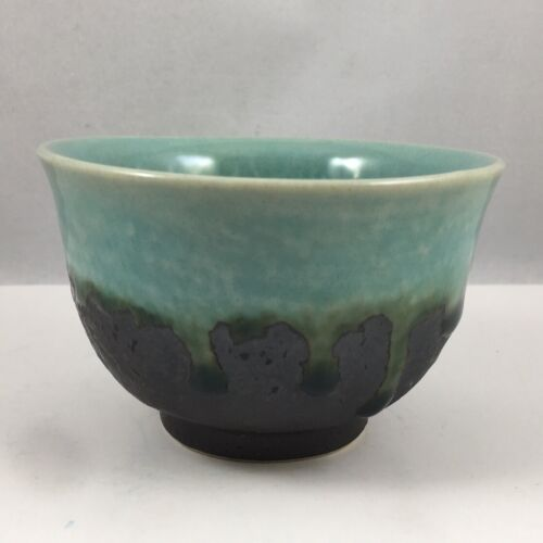"""Japanese Sushi Tea Cup 3.75""""D x 2.25""""H Ceramic Turquoise Sky Crackle JAPAN MADE"""