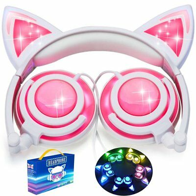 Pink Cat Ear Headphones  Great Headphones For Girls  Rechargeable  Led
