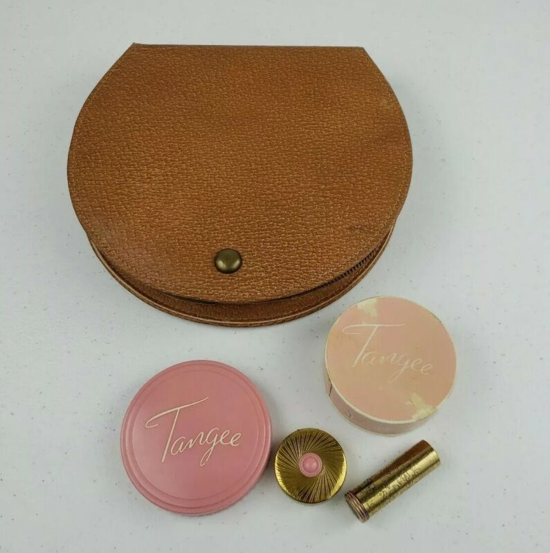 VTG 1950s NEW TANGEE MAKE-UP 4PC COVER UP, FACE POWDER, NATURAL ROUGE & LIPSTICK