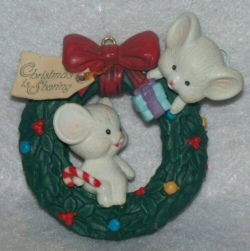 Vintage Lustre Fame Mice Wreath Ornament Christmas Is Sharing B3