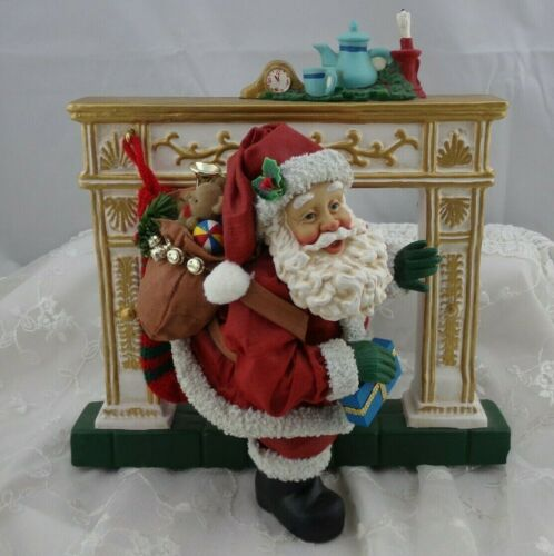 Vintage Clothtiques Christmas Figurine Santa Down the Chimney He Came