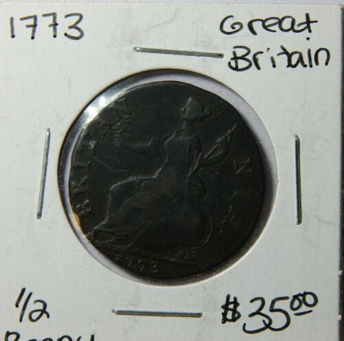 1773 1/2 Penny England Great Britain George III Coin
