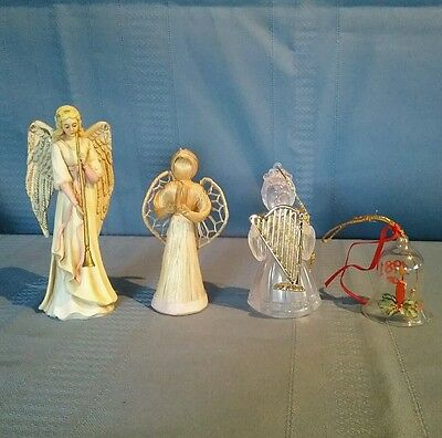 2 Angel Figurines & 2 Ornaments -1 Angel 1 Bell