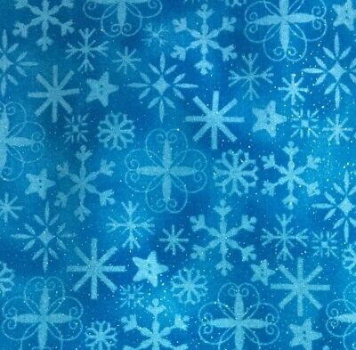Christmas Fabric Blue Snowflakes Med Blue Background Silver Glitter 3/4 Yd -