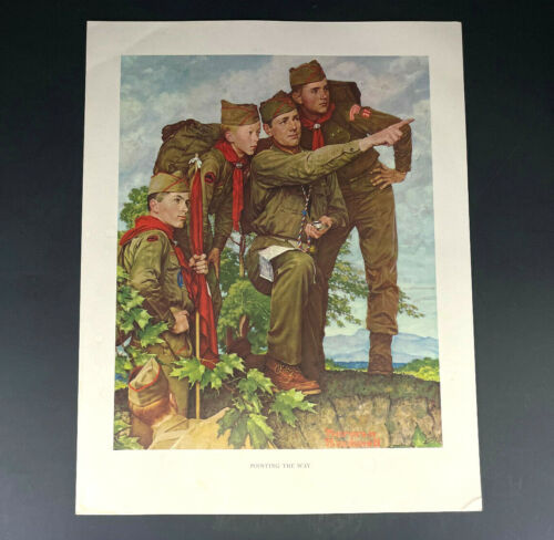VINTAGE PRINT SCOUTING THROUGH THE EYES OF NORMAN ROCKWELL - POINTING THE WAY!
