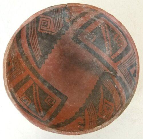 "Rare Ancient Anasazi Native American Indian Bowl Black on Red Intact 7"" 1150 AD."