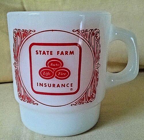 STATE FARM MUG FIRE KING MILK GLASS USA INSURANCE LIFE AUTO FIRE GOOD NEIGHBOR.