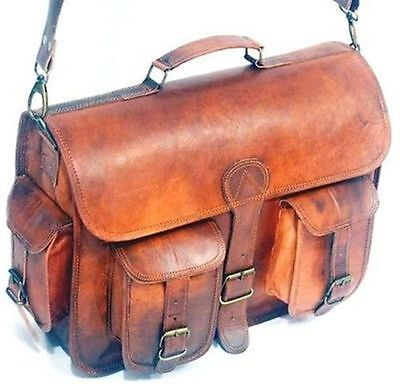 New Real Goat Leather Vintage Brown Messenger Bag Shoulder Laptop Bag Briefcase,