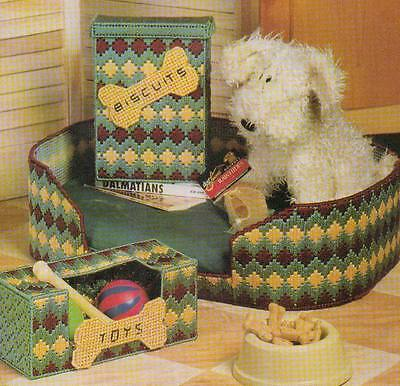 PUPPY LOVE DOG BED TREAT & TOY BOXES PLASTIC CANVAS PATTERN INSTRUCTIONS