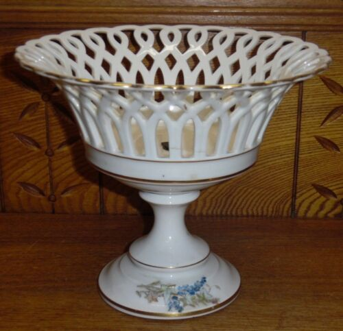 "Antique Old Paris Reticulated Edge Porcelain Compote W/ Decoration - 7 5/8"""