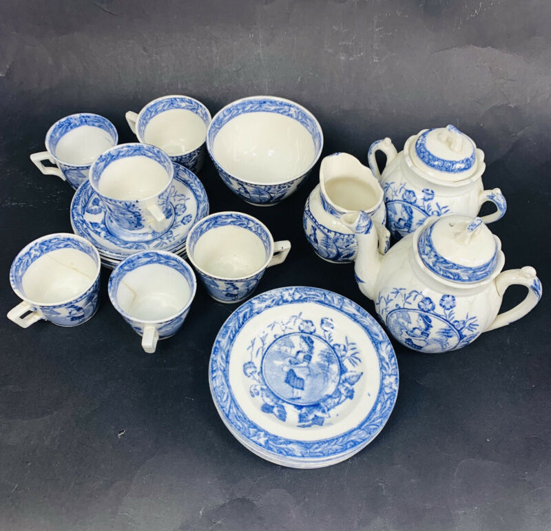 "Wood & Sons Child's Blue Transferware Tea Set Charles Allerton ""May"" 753, 1880"