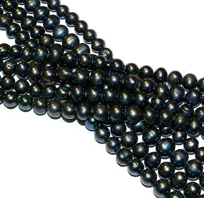 """NP248 Black 7mm - 8mm Cultured Freshwater Semi- Round Potato Pearl Beads 14.5"""""""