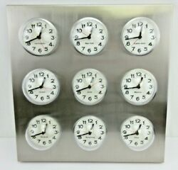 World Time Zone Wall Clock 9 International Cities Stainless Steel Body - Nice!