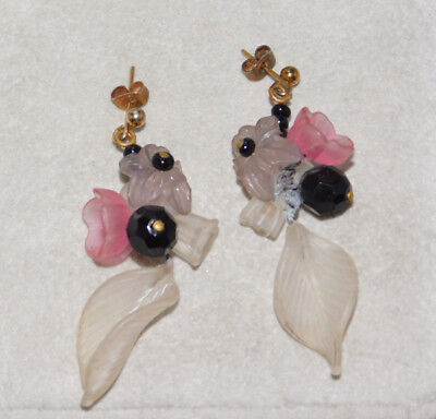 Frosted Pink Black Clear Glass Flower Bead Dangle Sterling Lever Earrings 5k 32