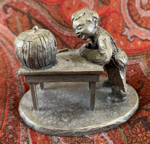 Vintage Pewter Figurine Figure, Boy Carving Pumpkin, by International Pewter