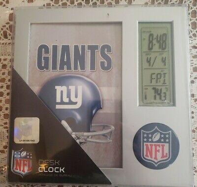 NFL New York Giants Football Digital Desk Alarm Clock Calendar Picture Frame Giants Desk Clock