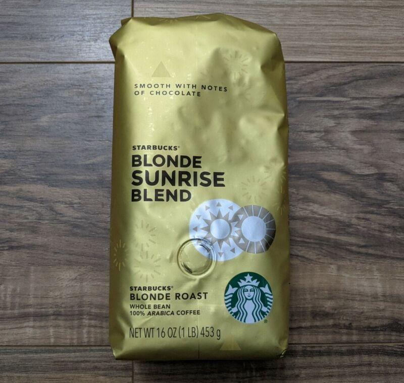 Starbucks Blonde Sunrise Blend Whole Bean Coffee 16oz RARE Exp MARCH 14  2021