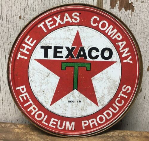 """TEXACO PETROLEUM PRODUCTS TEXAS COMPANY 12"""" ROUND METAL WALL SIGN"""