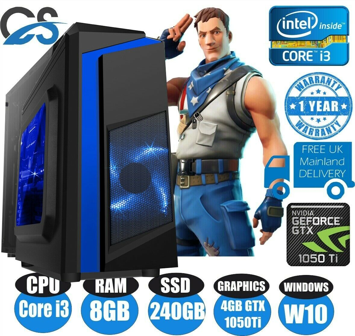 Computer Games - FAST Gaming Computer PC Bundle Intel Core i3 8GB 240GB SSD Win 10 4GB GTX1050 Ti