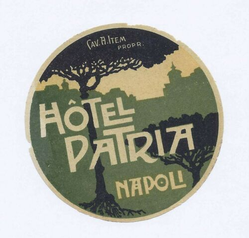 Hotel Patria Napoli Cav. A. Item Prop. City Skyline Round Hotel Luggage Label