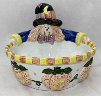 Scarecrow Pumpkin Jack O Lantern Candy Dish Ceramic Halloween Vintage Handmade