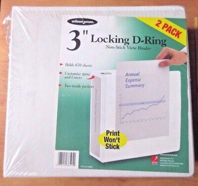 2 Pack Wilson Jones White Locking D-Ring 3