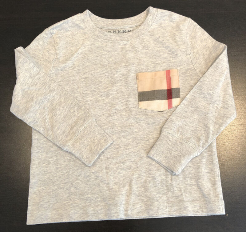 2 Years Authentic Burberry Toddler Boys Gray Sweatshirt Check Pocket Long Sleeve