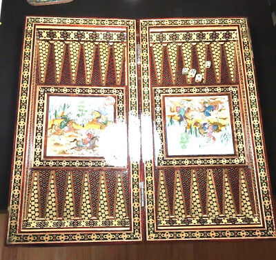 backgammon Chess Set Unique Hand Made Persian Khatam Collectable