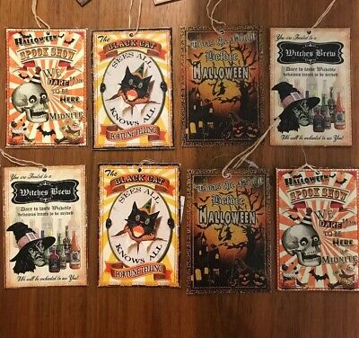 Bethany Lowe Halloween Tin Ornaments-- Set Of 8–Retired