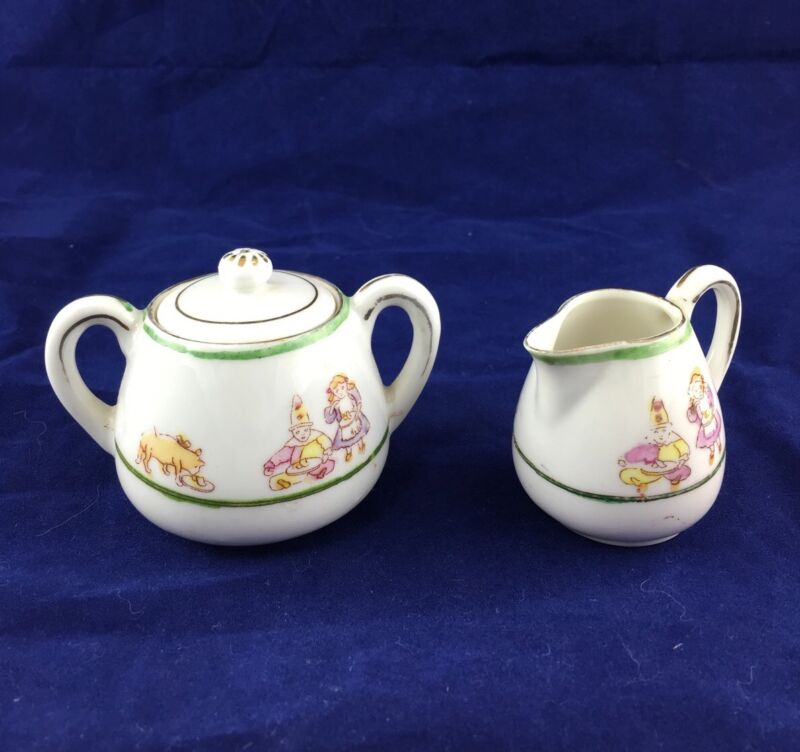Miniature Child's Toy Nippon Japan Cream Jug - Creamer & Sugar Bowl with Lid