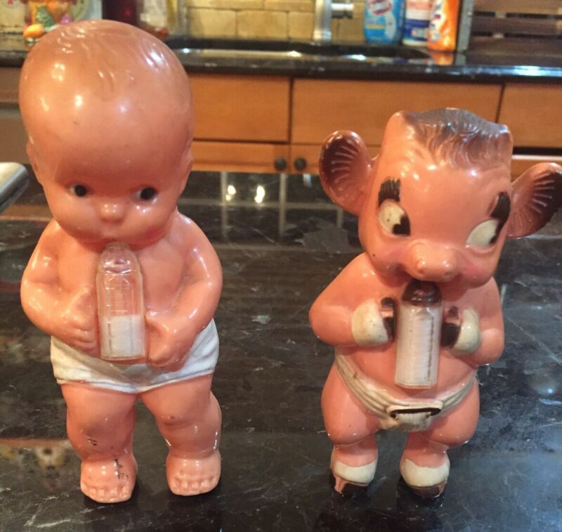 2 VINTAGE RATTLE TOY DOLLS BY IRWIN WITH BOTTLES BEULAH & INFANT BABY 1950s